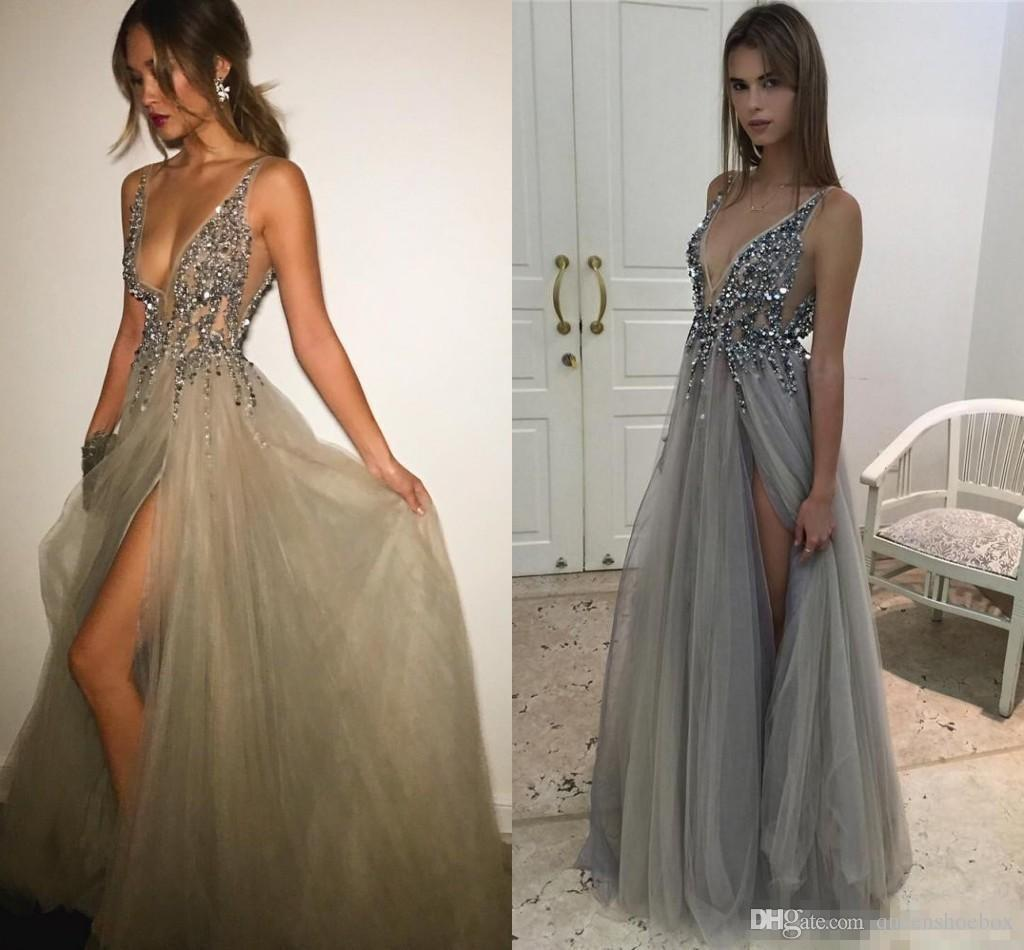 2017 New Sexy Paolo Sebastian Evening Dresses Deep V Neck Sequins ...