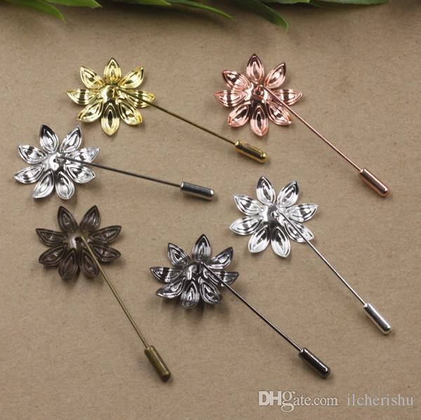 07669 50 * 29 мм стильный металлический серебряный розовый цветок костюм отворотом pin мужчины значок, женщины старинные цветочные отворотом pin брошь спины база, скраф pin up девушка