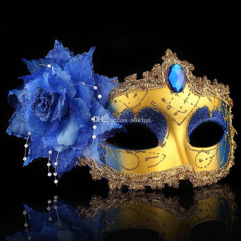2017 Nouveau Mascarade Masques Visage Vénitien Masque De Mode Rose Perle Chaîne Cristal Parti Décoration Halloween Cadeau De Noël WX9-77