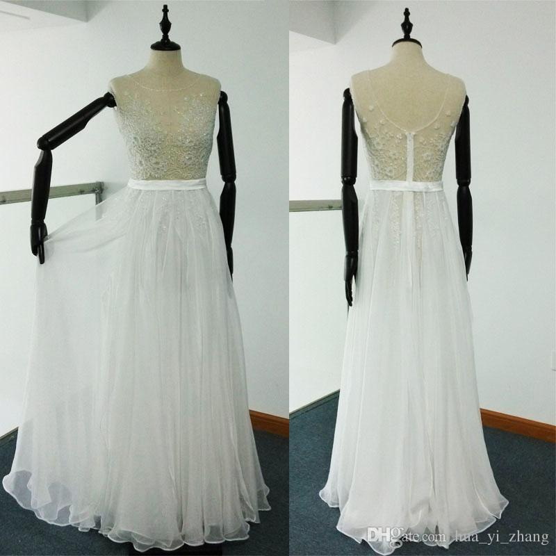 Sheer Beach Wedding Dresses A Line Beaded Embroidery Runway Gowns Cap Sleeves Tulle Chiffon Real Images