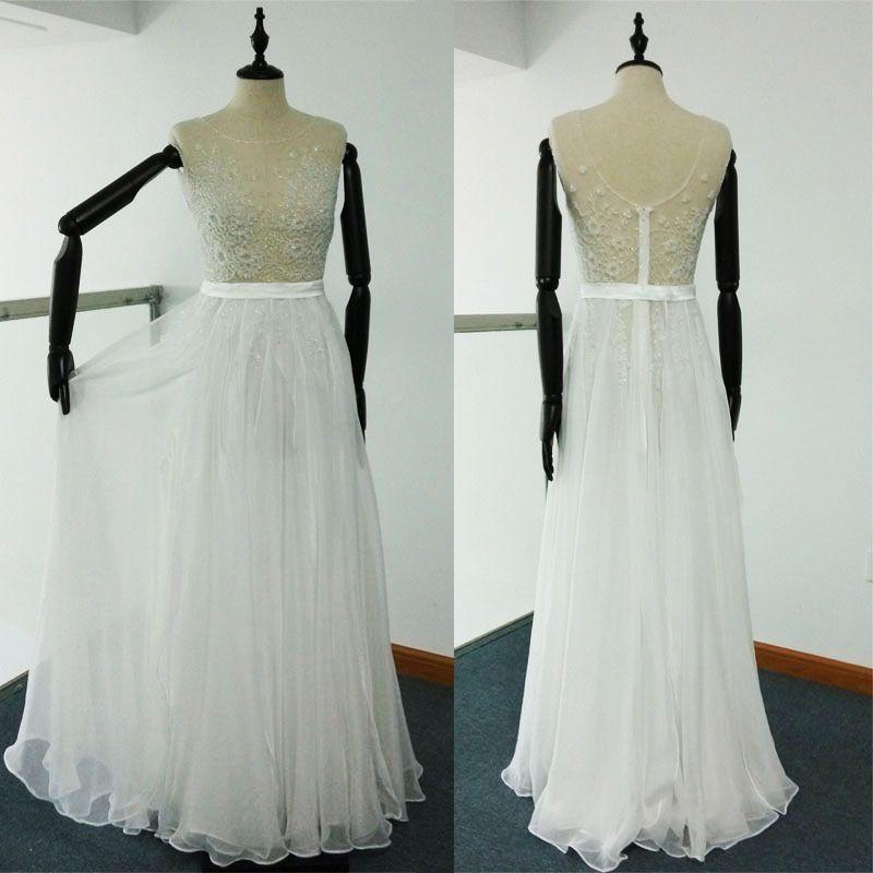 Sheer plage robes de mariée Une ligne de broderie perlée piste Robes Sans manches en mousseline de soie Tulle images réelles