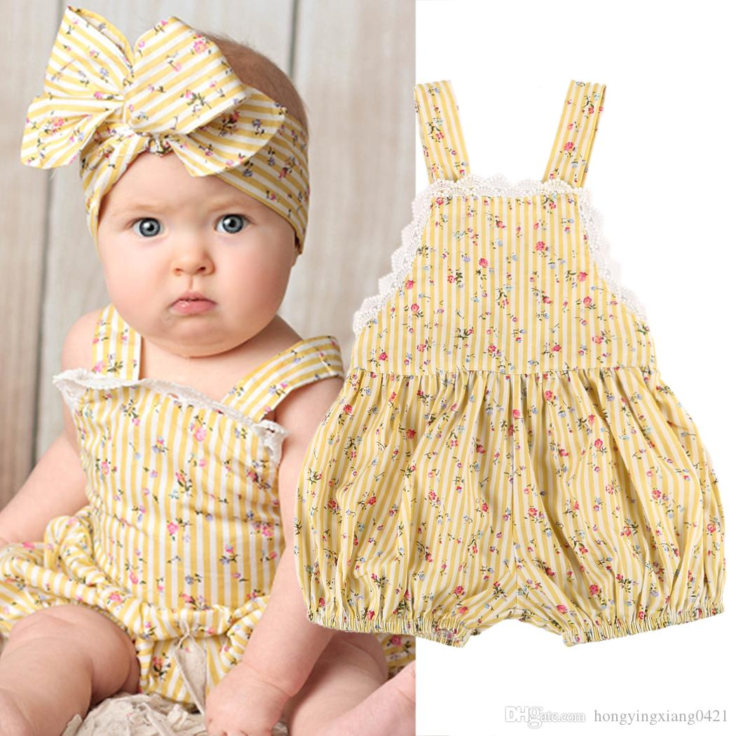 c61509ae1f68 2019 Summer Cute Newborn Infan Kids Baby Girls Yellow Lace Floral Backless  Cotton Romper Jumpsuit Playsuit Outfits Sunsuit Baby Clothes 0 24M From ...