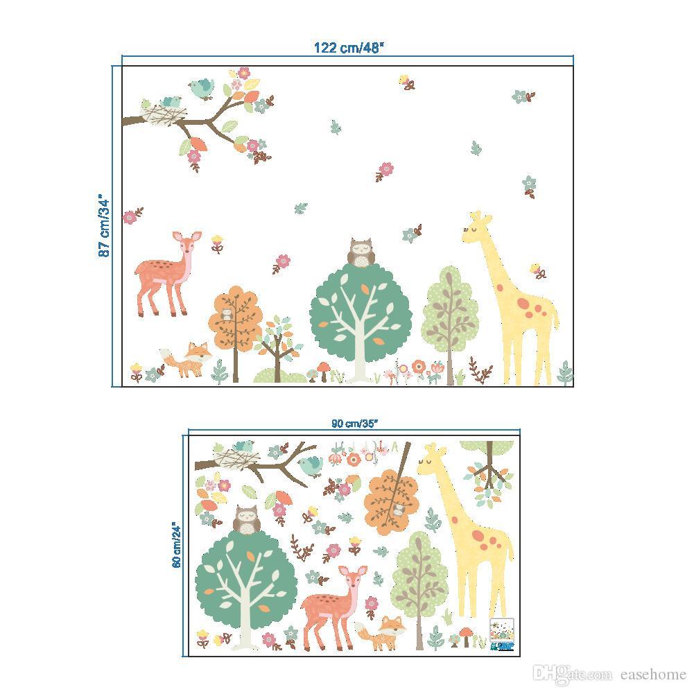 2018 nova chegada adesivos animais eco friendly para crianças decoração do quarto diy adesivos de parede reciclado à prova d 'água