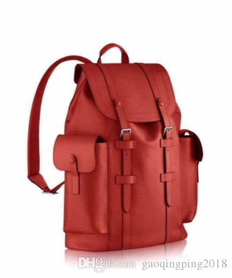 M41379 Red Black Women Palm Springs Backpack Real Leather ...