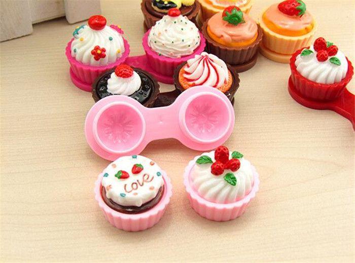 New Cartoon Cute Cream Cup Cake Travel Glasses Contact Lenses Box Contact lens Case Contact Lens Storage Set X024