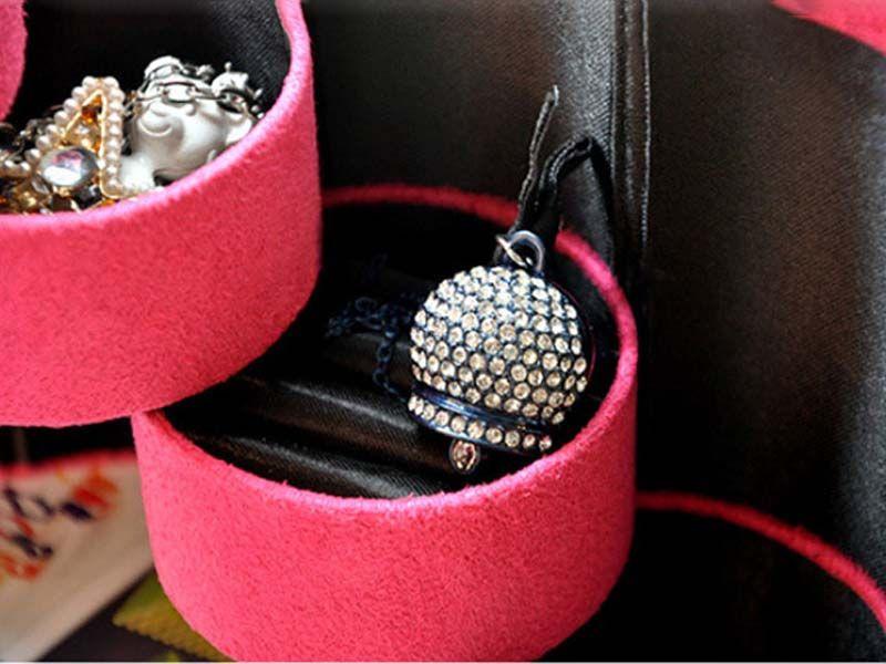 En gros De Mode Trois-cylindre Velours Boîte De Rangement De Bijoux Vintage Boîte à Bijoux Boîtes À Bijoux Portable et Emballage Bague De Mariage Boucle D'oreille Fr