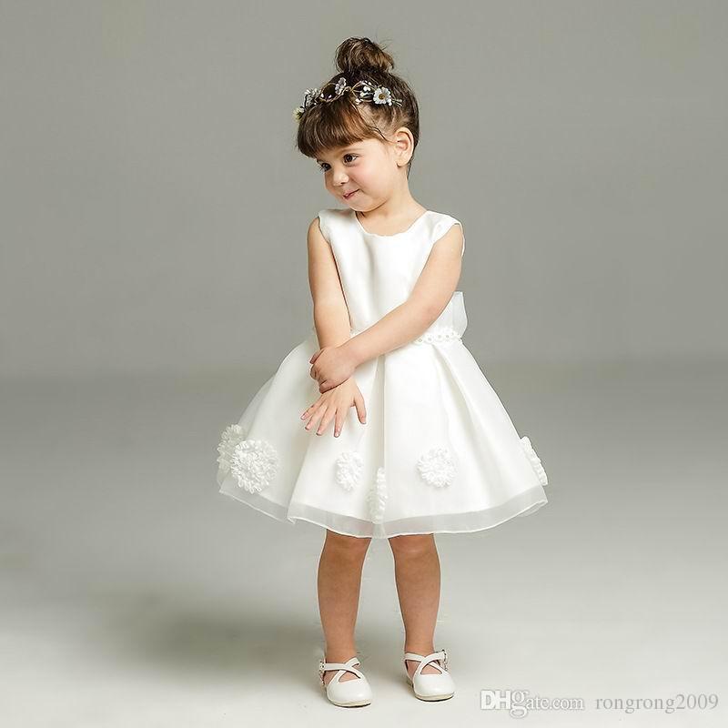 Perakende Kızlar Bebek Elbiseler Yaz Büyük Yay Parti Ilk Doğum Günü Düğün Parti Elbise Prenses Elbise Çocuk Giysileri 2050BB