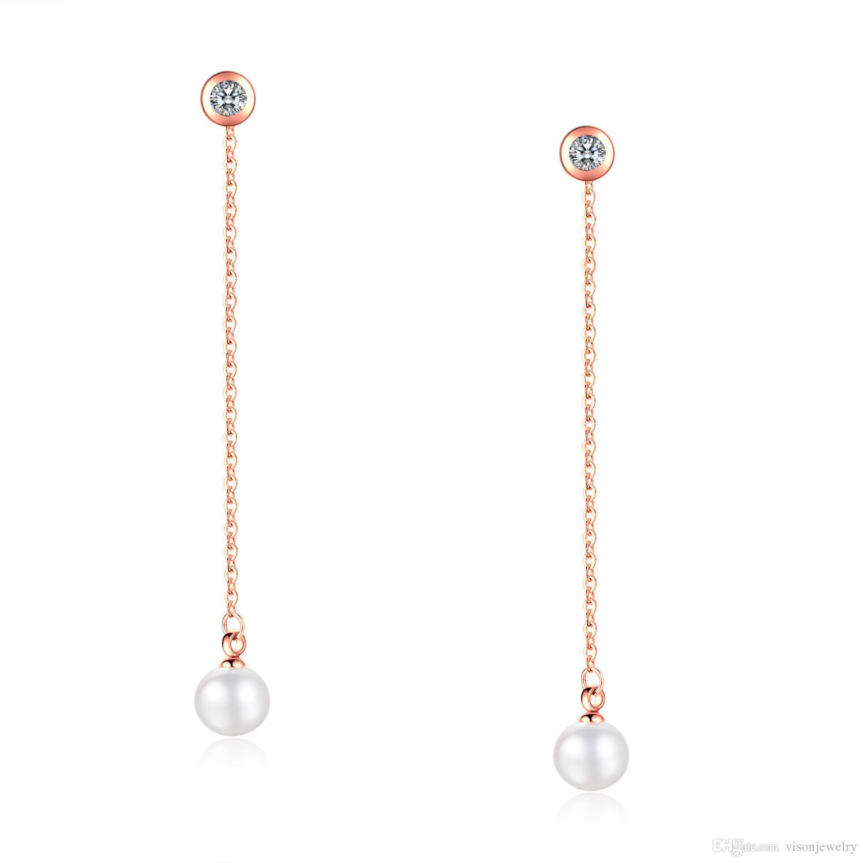 Brincos de corrente de pérola brinco de cristal threader em aço inoxidável