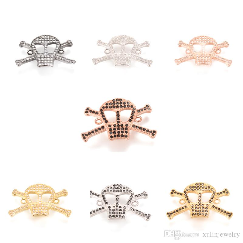 7 Color Newest Micro Pave Charm ECO-Friendly Skull Shape Micro Pave Charm, Connector, ICSP008, Size 24.4*2.5 mm