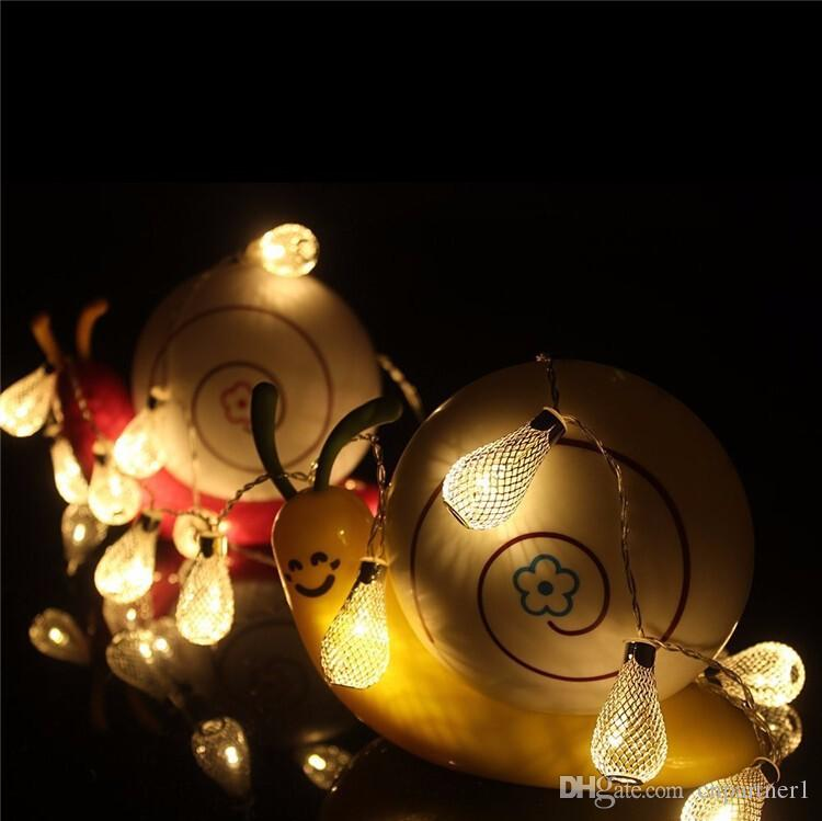 2017 20led led string RGB Metal Drip String Lights Patio Wedding Party Battery Christmas lights decorative lamp Holiday Decoration lamps