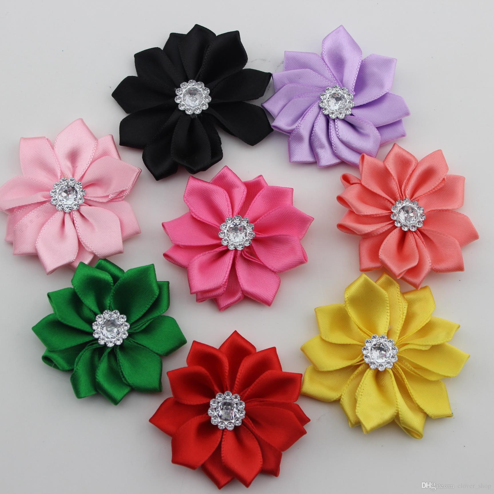 23 bonbons Couleurs Mode Tissu Fleur pour Bandeaux cristal Shank satin Fleurs Accessoires cheveux bricolage cadeaux