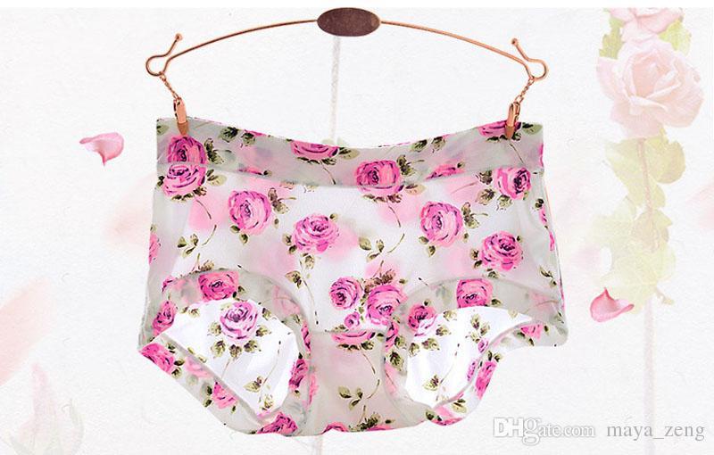 여성용 브리프 란제리 모달 꽃 인쇄 높은 허리 속옷 여성 팬티 솔리드 귀여운 팬티 팬티 통기성 원활한