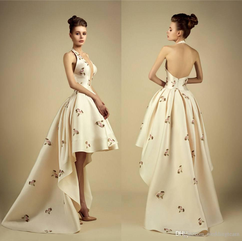 007ecd61559 2017 New Georges Hobeika High Low Ivory Prom Dresses Halter Appliques  Ruffles Bottom Evening Party Gown Satin Backless Long Train Prom Gown Prom  Dress Off ...