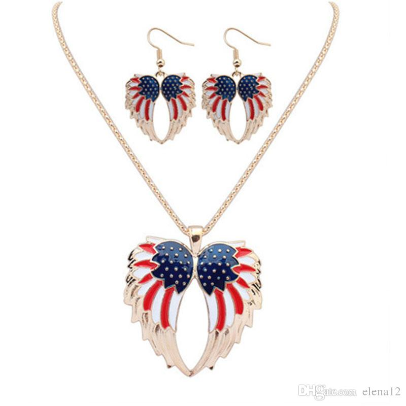 Takı Küpe Kolye gecikme Desen takı Fil yengeçler Denizyıldızı yıldız kolye küpe set Amerikan kanatları kolye küpe takım ayarlar