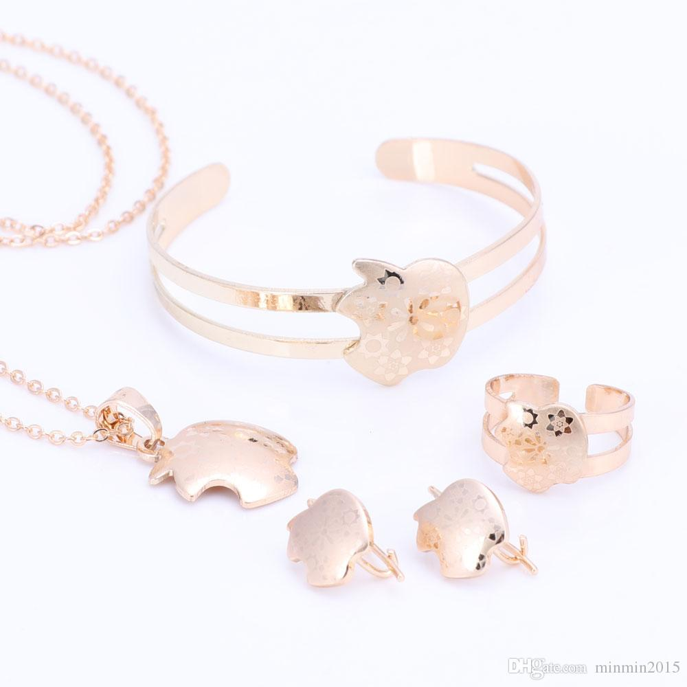 Gold Color Baby Jewelry Set Gift Children Apple Jewelry Sets Kids Jewellery Ring Earring Bracelet Pendant Necklace Jewelry Set