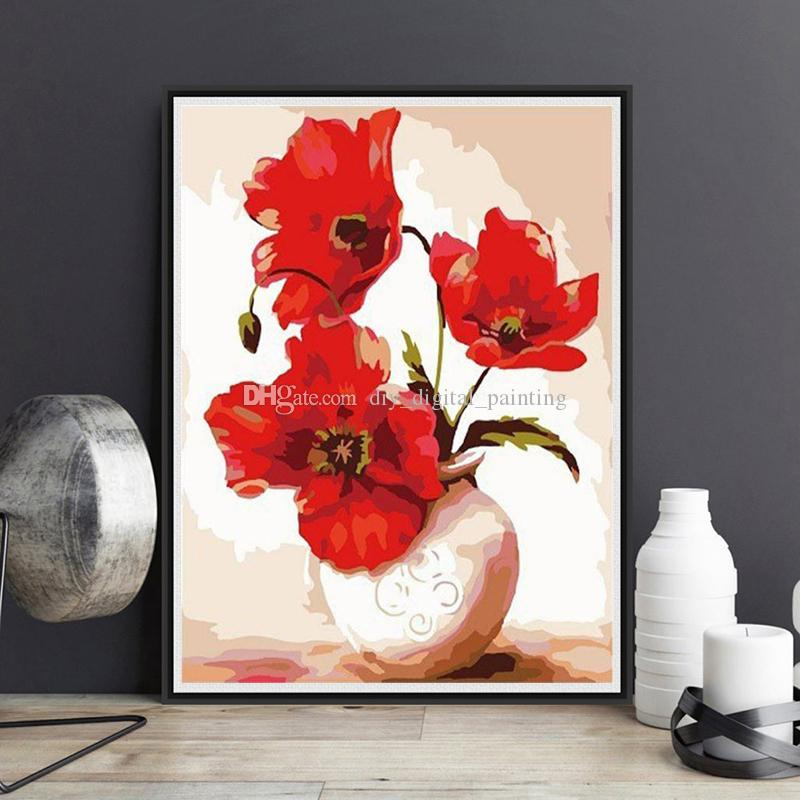 2019 Framed On Canvas Diy Digital Oil Painting By Numbers Wall Flowers Vase Painting Acrylic Painting Hand Painted Home Decor For Living From ... & 2019 Framed On Canvas Diy Digital Oil Painting By Numbers Wall ...