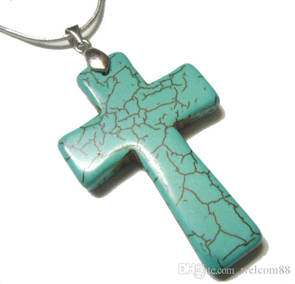 Turquoise Cross Pendant Charms For DIY Craft Fashion Jewelry Gift Pendants 45mm TC2