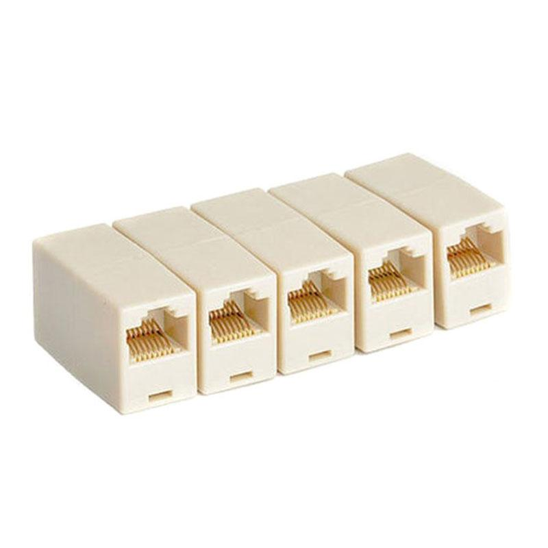 RJ45 Network Cable Extender Plug RJ11 Phone Joiner Coupler Connector CAT5E CAT6 Ethernet Lan Repeater Extension Adapter Converter 8P8C 4P4c