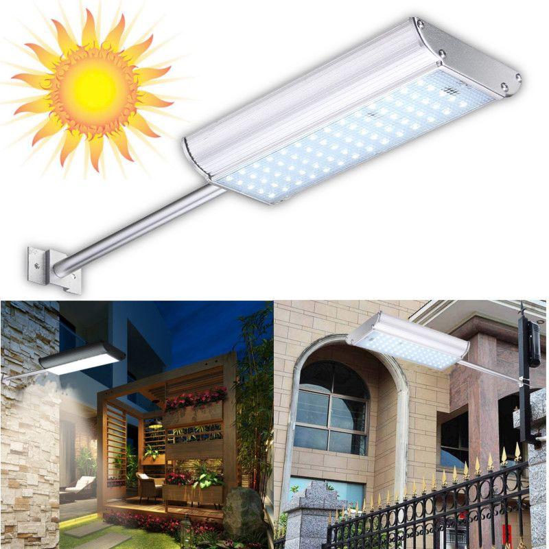 Pure blanco Solar Powered Microondas Sensor de movimiento SMD 2835 70 Led luz solar al aire libre impermeable pared de luz de jardín