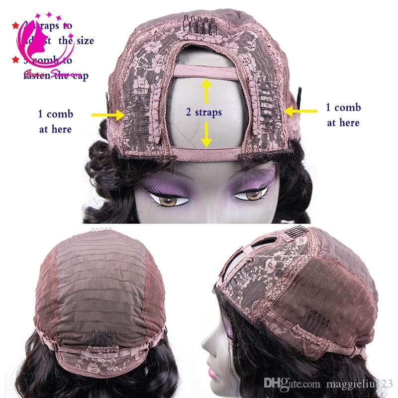 Non Transformés Vierge Brésilienne Corps Vague De Cheveux Humains U Partie Perruques Remy Cheveux Upart Perruque Avec Côté Bangs Côté / Milieu En Forme De Perruque Pour Les Femmes Noires