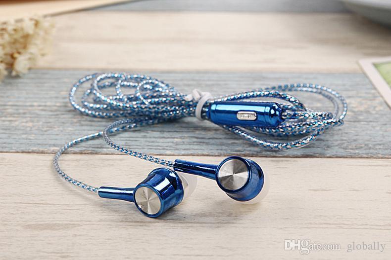 Universal 3.5mm fone de ouvido intra-auriculares galvanoplastia fone de ouvido estéreo trançado cabo de nylon com microfone fones de ouvido para iphone samsung lg ht