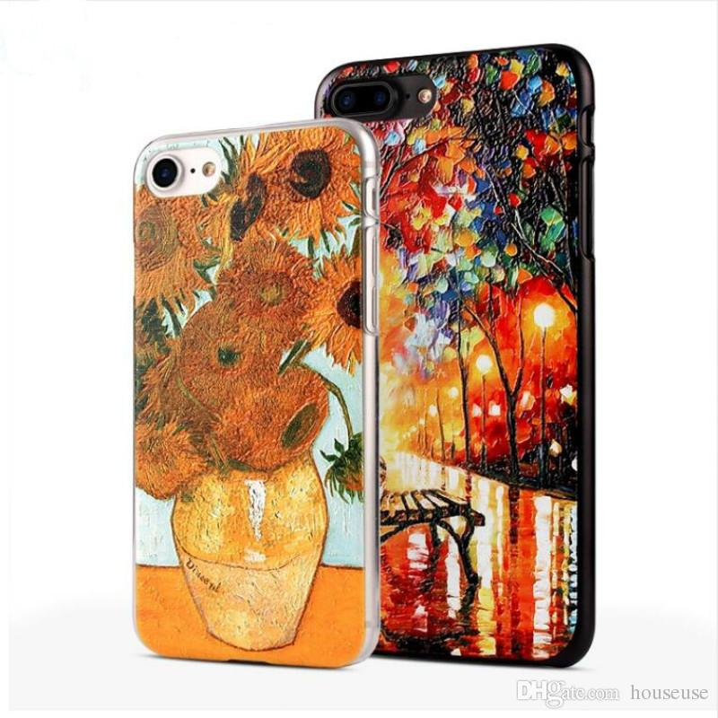 timeless design 40f43 97d11 3D Painting Cell Phone Case For iPhone 7 Plus Case Van Gogh Starry Night  Phone Case Fone