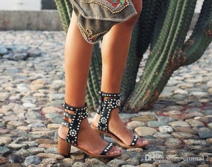 Celebrity Roma Vintage Décolleté Casual Scarpe a spillo tempestato di legno Block Heel Sandels Rivet Crystal Open Toe Sandali gladiatore Donna