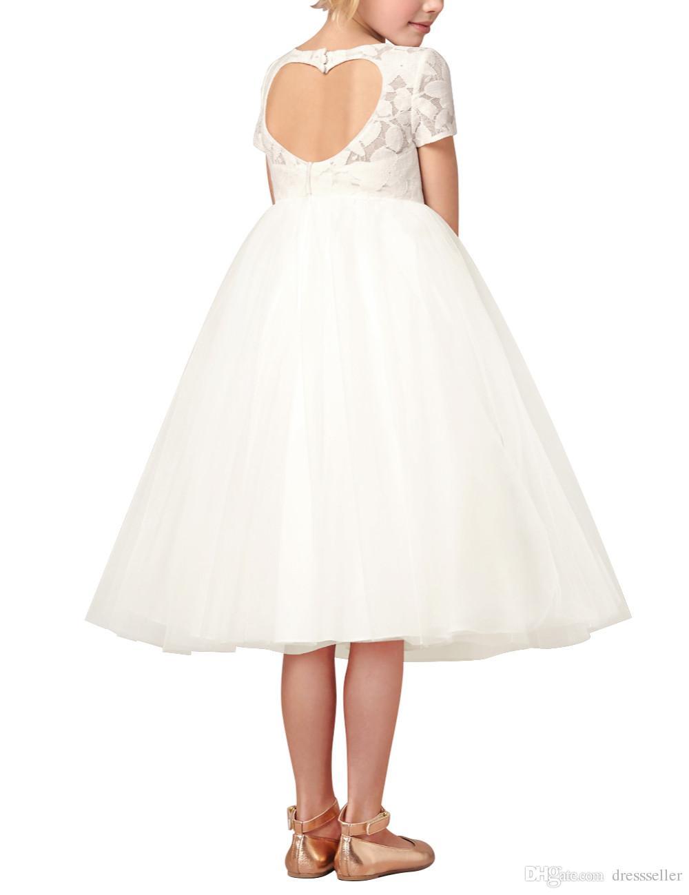 Baby New Flower Girl Dresses White Ivory Real Party Pageant Communion Dress Little Girls Kids Children Dress for Wedding