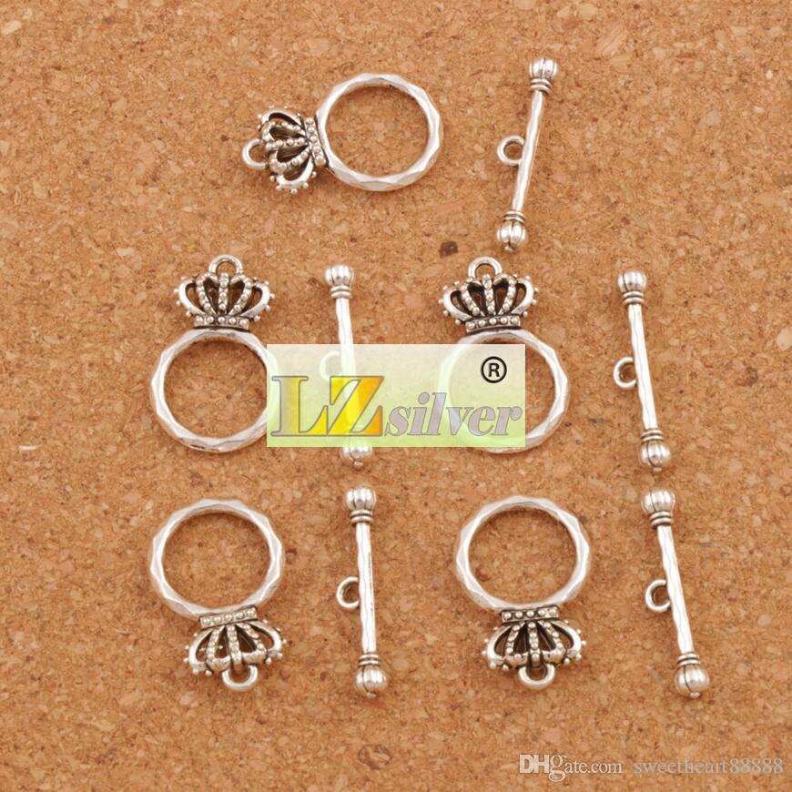 Crown armband växla lås 100st / antika silver smycken DIY fynd passar armband L864 Smycken fynd komponenter 15.3x23.7mm