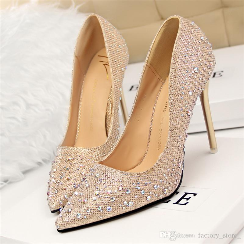 e51a9163e895 Designer Luxury Brand Bigtree Shoes Crystal Shoes Rhinestone Wedding Dress  Sexy High Heels Ladies Pumps Pink Black Gray Nlue Golden Tacones Walking  Shoes ...