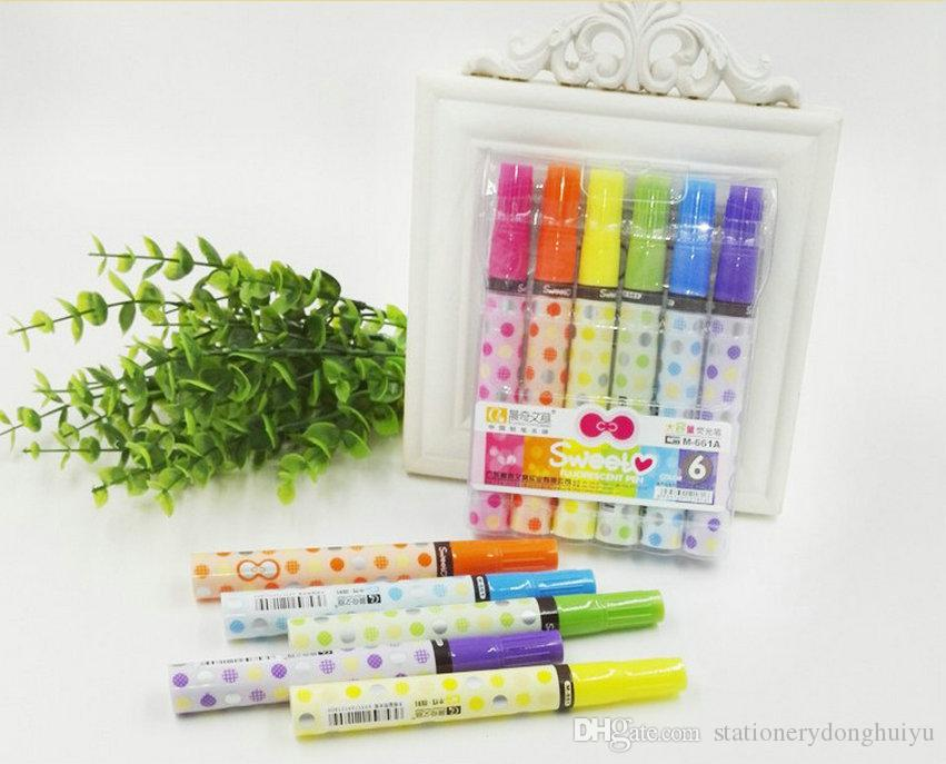 Wholesale Colorful Fluorescence Pen Highlighters Student Stationery Gifts Marking Pen Marker