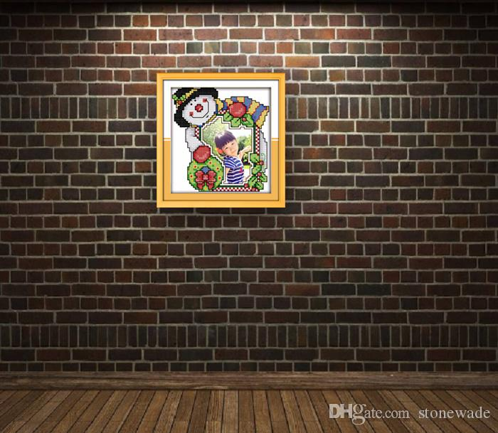 Christmas photo frame lovely cartoon painting counted printed on canvas DMC 14CT 11CT Cross Stitch Needlework Set Embroidery kit