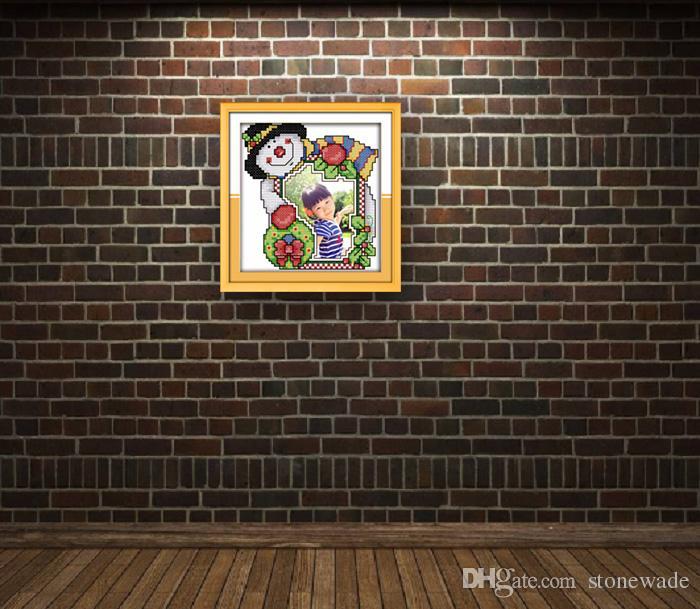 Marco de fotos de Navidad pintura encantadora de dibujos animados contados impresos en lienzo DMC 14CT 11CT punto de cruz conjunto de costura kit de bordado