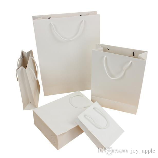 Standard Style Paper Gift Bag For Gift Candy White Shopping Bag 5 Size Available