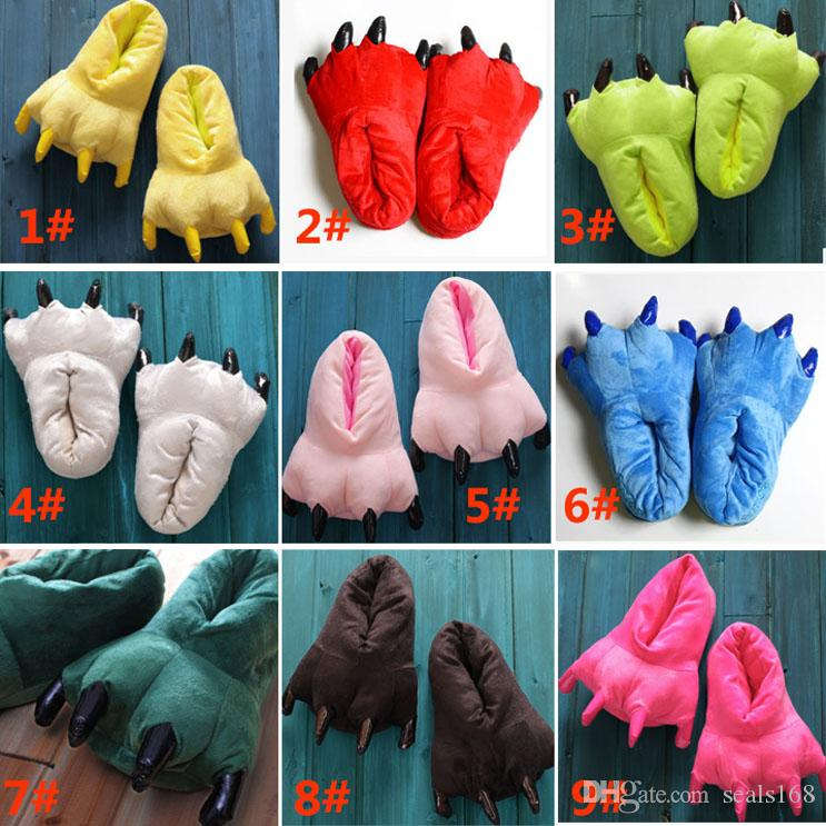 Kinder Baby Cosplay Pfote Pikachu Schuhe Winter Männer Frauen Hausschuhe Cartoon Monster Klaue Stich Samt Tier Plüsch Schuhe Indoor Schuhe HH7-295