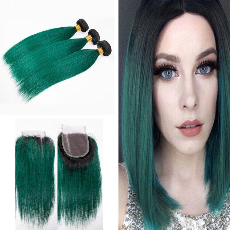 Dark Roots 1b Green Human Hair Bundles With Lace Closure Dark Green