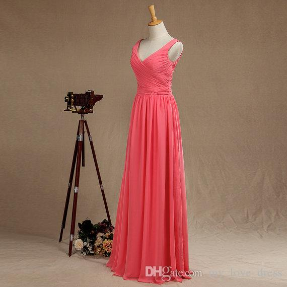 Coral A-line V Neck Straps Bridesmaid Dress Floor length Chiffon Evening Dress with Ruching V Back Ruffle Prom Dress Real Pictures