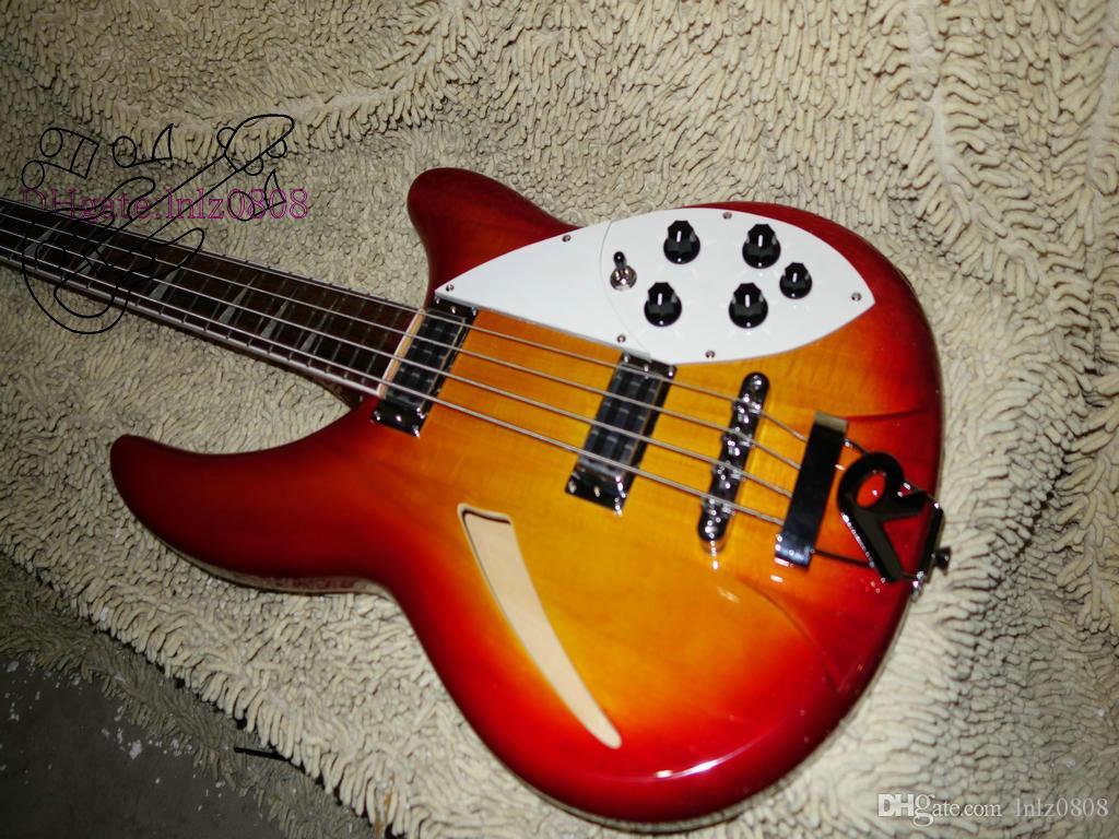 Venta al por mayor de Alta Calidad Semi Hollow Cherry rojo 4 cuerdas guitarra eléctrica bajo envío gratis