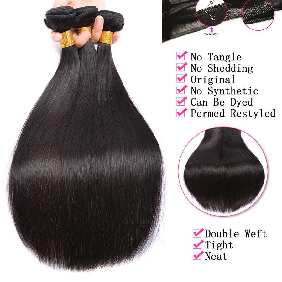 Pre Plucked Cheveux Brésiliens Trames 360 Dentelle Frontale Avec Bundle Extensiones De Cabello Droite Vierge Cheveux Bundles Avec Bébé Extensions de Cheveux