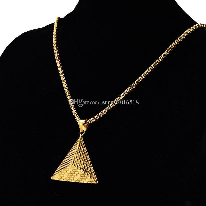b3c2b879ee82 2017 Nueva Moda 3D Collar de la Pirámide Colgante Encanto Rey Collares de  Cadena de Oro Collar Largo para Hombres Personalizados Retro Regalos Del ...