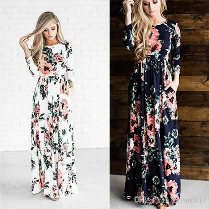 Women'S Fashion Spring 3/4 Sleeve Classic Rose Maxi Dresses Long ...