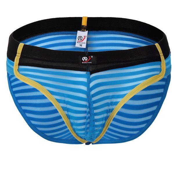 Transparent Sexy Mens Underwear Briefs Stripe Gauze Sexy Silky U Convex Pouch Slim Briefs Nylon Male Underpants