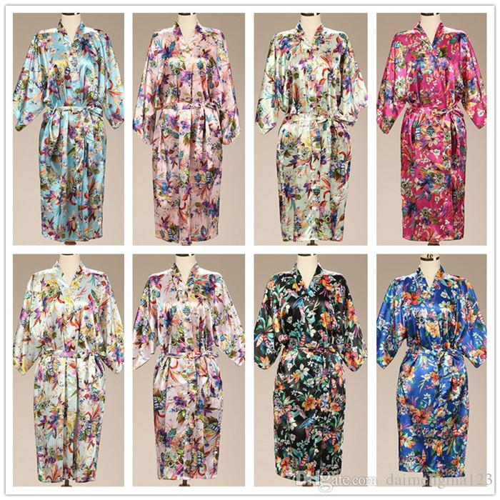 4c8662761b Wedding Bathrobe Silk Robes Satin Robes Womens Pijamas Print Flower Purple  Short Sleeve Kimono Robe Silk Dressing M043 UK 2019 From Daimengma123