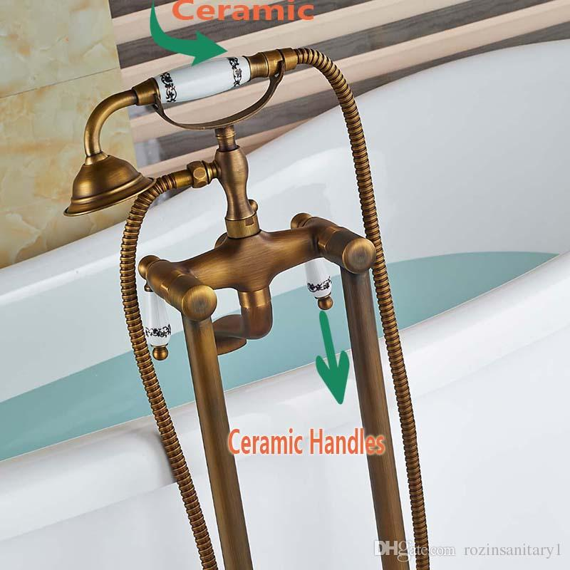 Luxury Antique Brass Floor Mounted Bathroom Tub Faucet with Hand Shower Sprayer Tub Filler Mixer Tap