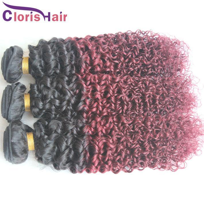 Ombre 1b 99j Cru Indiano Kinky Curly Hair Dois Tons Borgonha Extensões de Cabelo Ombre Melhor Cabelo Humano Vinho Tinto Ombre Weave Bundles