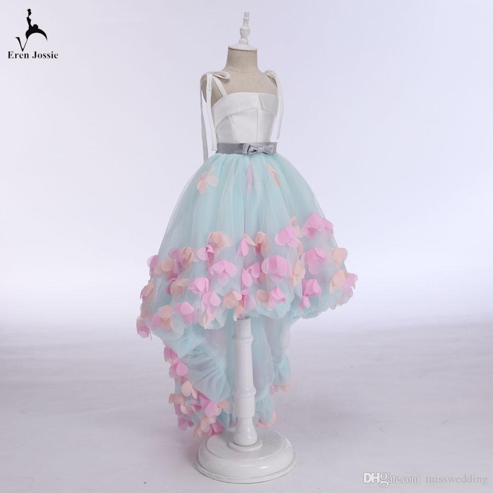 Schöner Blick Kleine Prinzessin Kleid Eren Jossie Dünne Riemen Asymmetrisches Design Mädchen Festzug Kleid Geburtstag Party Kleid