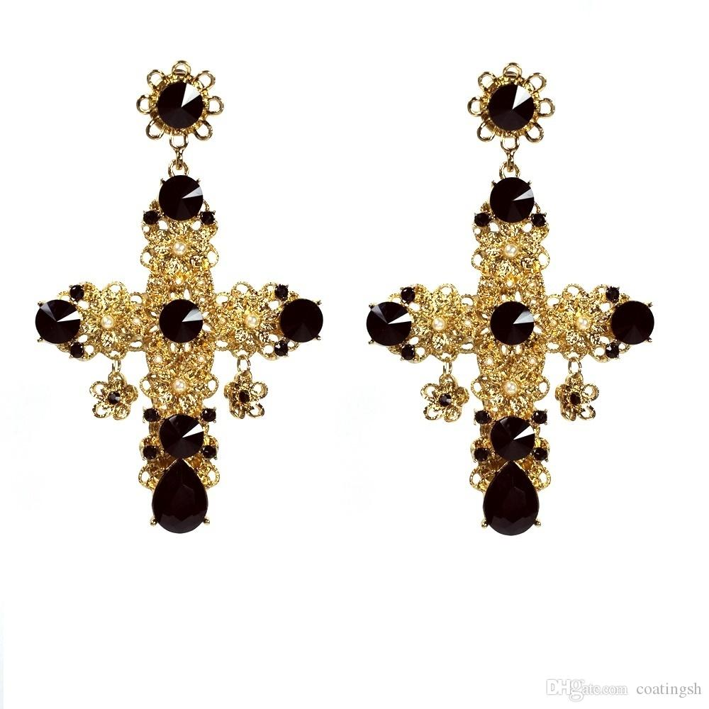 2017 Vintage Baroque Filigree Byzantine Black Cross Earrings Culture White  Pearl Tiny Gold Flowers Stone Deco Drop Dangle Earrings From Coatingsh,