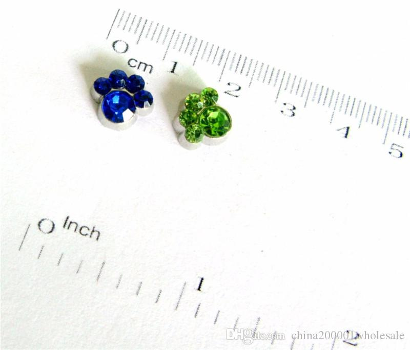 FC828 DIY accessories paw Birthstone Floating Charms For Glass Living Locket DIY jewelry making