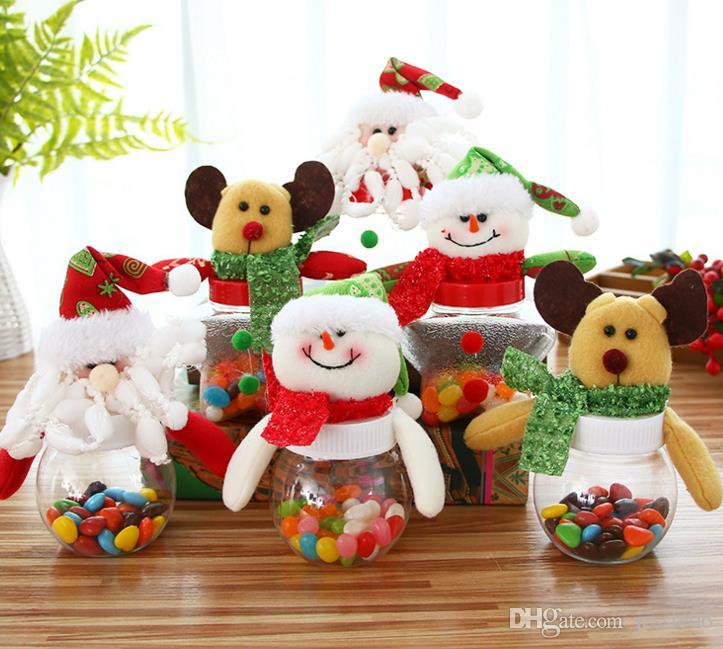 Christmas Candy Box Xmas Elk Santa Snowman Bear Dolls Topper Clear Sweet Boxes Container Kids Festive New Year Gift Wrap party decor