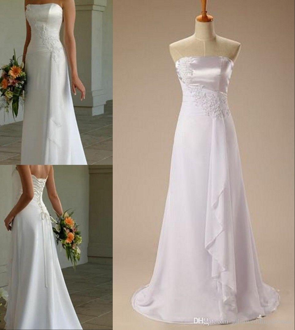 Cheap Plus Size Wedding Dress 2017 Beaded Strapless Bodice: Discount Newest White Elegant A Line Strapless Chiffon